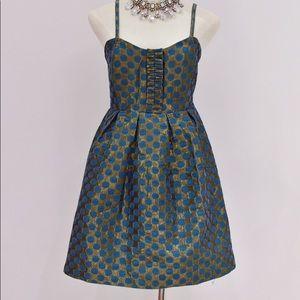 Ark & Co. Gold and Teal Taffeta Dress